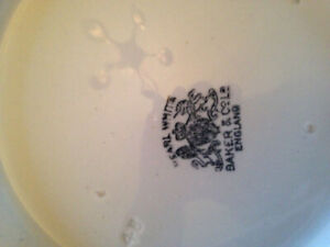 Antique White Pitcher and Basin Wheat Design