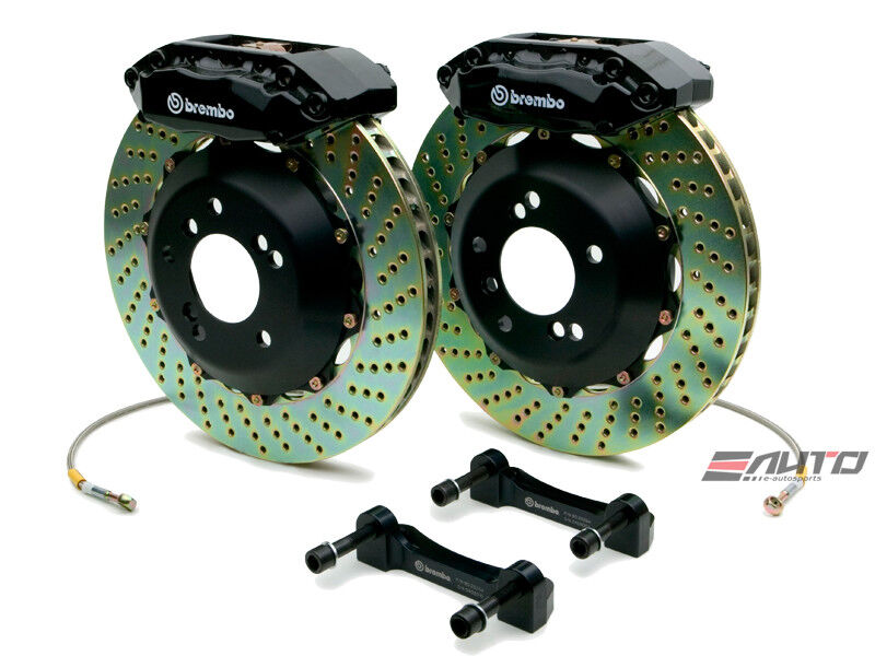 Brembo Front Gt Bbk Brake 4pot Black 328x28 Drill Disc Rotor Tiburon 03-08 Gk27