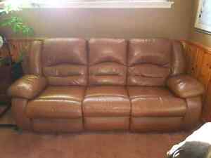 Light brown top grain leather couch $250 OBO  Cambridge Kitchener Area image 1