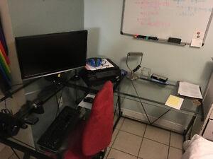 Glass L-Shaped Corner Desk, Great Condition