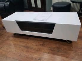 Alphason chromium gloss white tv unit brand new assembled
