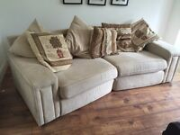 Faux Swede sofa, large cream, curved. Comes with cushions in pic.