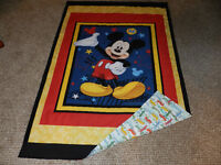 New Mickey Mouse Quilt  with flannelette backing for Toddler bed