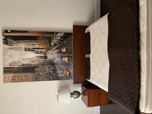 Double bed with mattress, night stand, lamp and wall canvas.