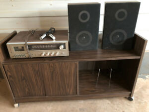 Record Rack, 2 Mics, Speakers, and Tape Deck