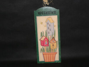 Wood hand-painted Welcome sign plaque hanging