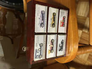 Collectible antique classic miniature cars & wood wall display