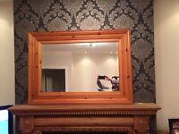 Pine mantle mirror