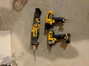 12v dewalt sawsall and 2 drills