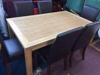 Beech veneer table and 6 chairs