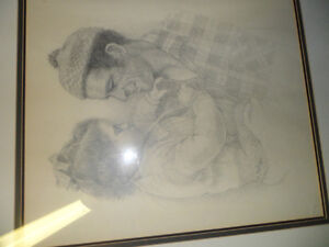 Father and Daughter by M Hall Original $200 . Not a print. Prince George British Columbia image 2