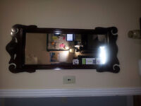 Mahogany 3 drawer desk, mirror and chair