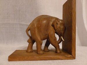Antique Carved Wooden Elephant-Book End
