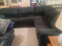 Green Sectional couch with double bed