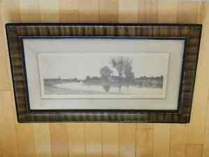 Antique 1890 Lithograph in Grain Painted Frame