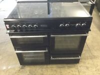 Leisure Black Electric Cooker with 5 gas burners and ceramic cooking zone