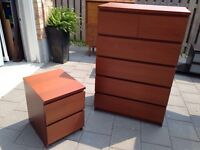6 drawer wood tall boy dresser and night stand
