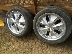 """22"""" Chrome rims and tires"""