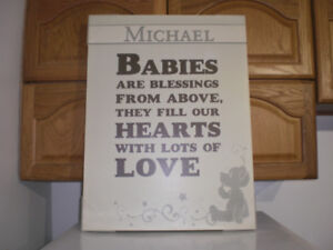 Baby items - Michael print on canvas