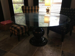 "60"" Glass Table with Pottery Barn base"
