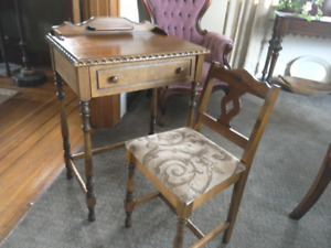 Beautiful Antique Ladies Desk With Chair