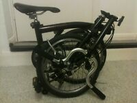 Black Brompton 5 speed folding bicycle commuter bike immaculate condition WORLDWIDE SHIPPING
