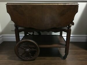 For Sale: Antique Solid Walnut Gibbard Tea Cart