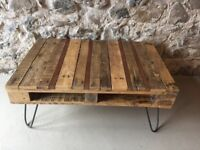 Beautiful handmade wooden rustic coffee table