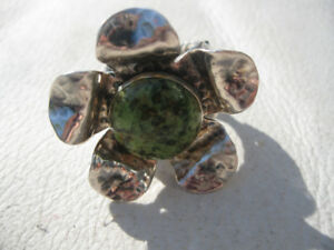Sterling silver custom flower statement ring, green stone.