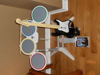 Wii Rockband Game / Guitar / Drumset