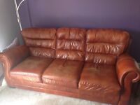 Large 3 Seater Vintage Distressed Brown Tan Sofa