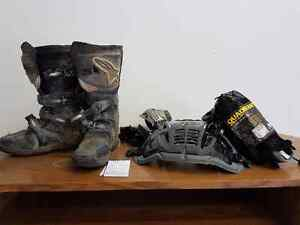 Dirt bike Boots , Chest protector  and elbow pads.
