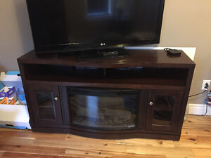 TV stand with built in fireplace