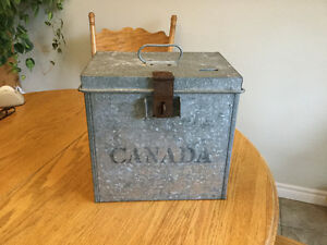 Antique ballot box, Canadian, metal