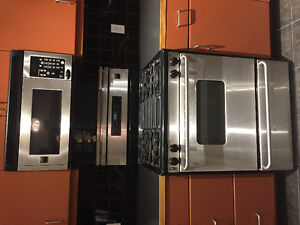 Gas range, dishwasher, and above range microwave