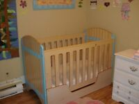 Baby Crib with Mattress also turns into toddler bed.