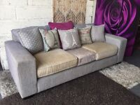 New Next Fabric 3 Seater Sofa with Scatter Cushions