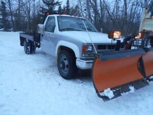 1998 Chevrolet 3500 DW flat deck snow plow truck