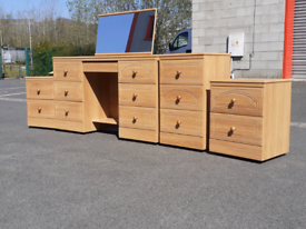 Dressing Table with Mirror, Pair of Bedside Cabinets,Chest of Drawers