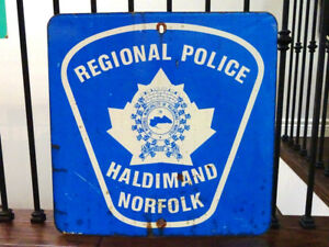 POLICE SIGN authentic steel REFLECTIVE Norfolk County OBSOLETE
