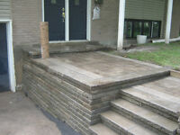 Paysagiste, pave-uni, marches, escalier, dalle, mur, amenagement