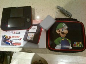Nintendo DS with charger, case and Mario Kart Game