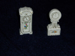 Occupied Japan Pair of Porcelain Grandfather Clocks