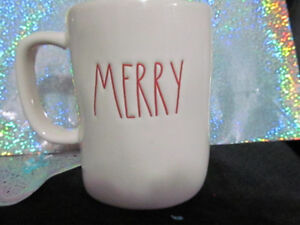 Two Rae Dunn Merry Christmas Mugs Red Inside/Writing
