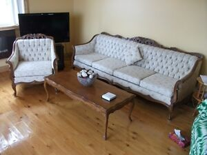 French Prov. Chair, Couch and Coffee table