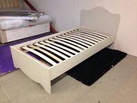 New single cream wood bed frame