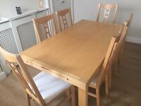 IKEA extendable dining table & 6 chairs