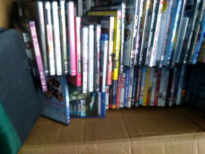 Blu rays and DVDs around 50 of them $1 each or whole box for $25