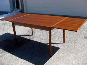 """Chic 89"""" Refinished MCM Retro Teak Dining Table, Chairs, A1 !"""