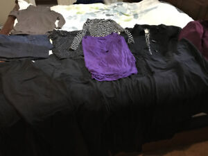 Box of maternity clothes for sale as a lot